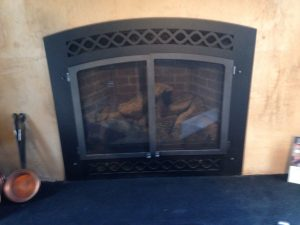 Lexington Decorative Arched front and Fire Screen Doors Black